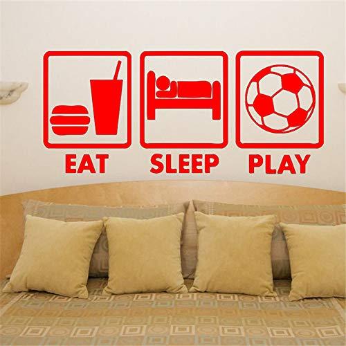 zhuziji Decorazioni per la casa Decorazioni per pareti Camera da Letto Eat Sleep Gioca Football Fan Adesivo murale per Bambini Cameretta Picture Mur 88A-3 58 x 26 cm