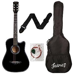 Juarez Acoustic Guitar, 38 Inch Cutaway, 038C With Bag, Strings, Pick And Strap, Black