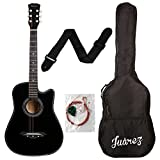 #1: Juarez Acoustic Guitar, 38 Inch Cutaway, 038C With Bag, Strings, Pick And Strap, Black