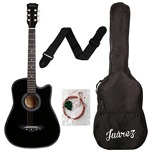 juârez acoustic guitar, 38 inch cutaway, 038c with bag, strings, pick and strap, black Juârez Acoustic Guitar, 38 Inch Cutaway, 038C with Bag, Strings, Pick and Strap, Black 51M9T0C4ssL