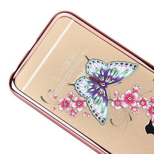 Coque Housse Etui pour iPhone 6s, iPhone 6 Coque en Silicone avec Bling Diamant Or Rose, iPhone 6S Placage de diamant Or Rose Coque Rose Gold Etui Housse, iPhone 6s Silicone Transparent Case Soft Gel  Rose Gold-Papillon rose