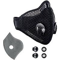 krisvie máscara carbón activé anti contaminación, protección respiratoria, con Filter (algodón y válvula de escape para alergia al polen, PM2.5, Carrera, Ciclismo, Actividades de Plein Air, color Negro , tamaño *1