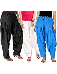 ROOLIUMS ® (Brand Factory Outlet) Punjabi Patiala Salwar Combo 3 - Free Size (Black, White,Sky-blue)