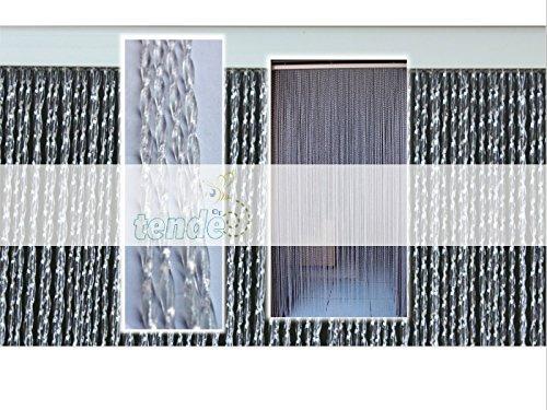 Tenda/moschiera pvc –modello roma - asta in alluminio - made in italy - misure standard (95x200 / 100x220 / 120x230 / 130x240 / 150x250) - (100x220, trasparente (2))