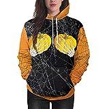 SEWORLD Halloween Schal Frauen Halloween Kürbis Party Langarm Pullover Bluse Hoodie Sweatshirt(Schwarz,EU-46/CN-2XL)