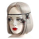 SODIAL(R) Tocado cubierta de velo de encaje negro retro Mascara COS de Muerte de cara media de fiesta divertida Mascara para fiesta de mascarada Halloween (Estilo de arana)