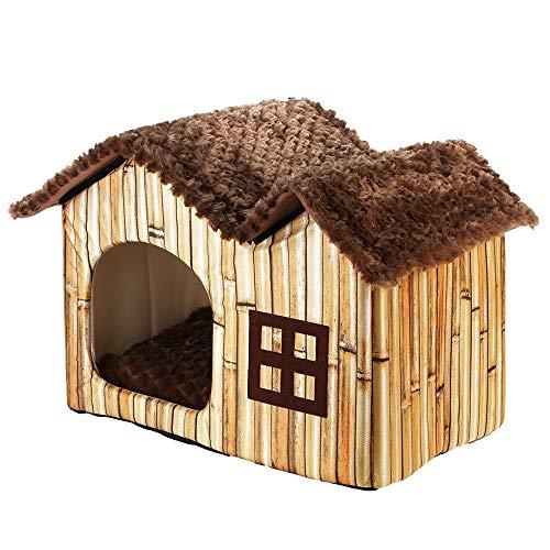 LONG-C Doble Mascota Casa Marron Perro Habitacion