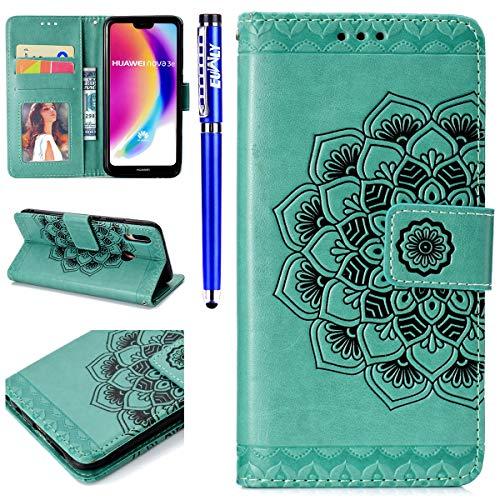 EUWLY Kompatibel mit Huawei P20 Lite Handyhülle Flip Case Brieftasche Ledertasche Mandala Blumen Muster Leder Hülle Schutzhülle Klapphülle Handytasche Wallet Cover Kartenfach,Grün
