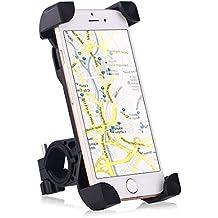 Anti vibración Soporte Móvil Moto, Soporte Móvil Bicicleta, Soporte Teléfono Bicicleta, el Más Seguro Del Mercado y Ultra Estable con 4 Esquinas Cerradas de Silicona Antideslizante y 360 rotación Para Iphone 7 7 Plus SE 6S 6S plus 6 6 plus 5 5S 5C 4 4S , Samsung Galaxy S7 / S6 / S5 / S4 / Note 4/3 , Sony, BQ, Motorola, Google Nexus, LG G3 y muchos otros teléfonos o dispositivos GPS. Negro