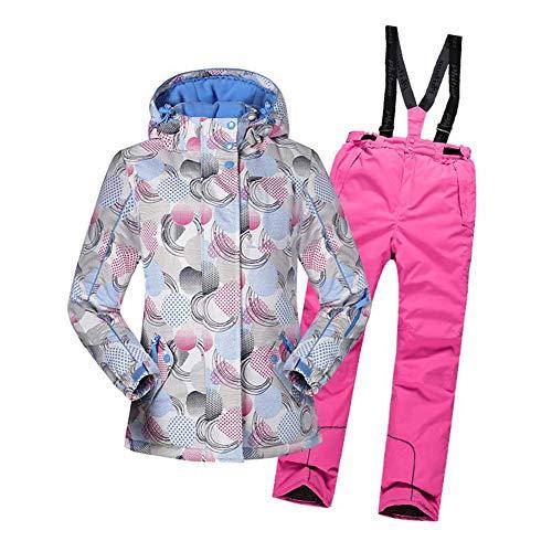 Yfch tuta da sci invernale con cappuccio da bambina per bambini modello stampato giacche da sci sportive con giacca a vento sportiva 2pz, beige rosa, dimensione:152/12anni
