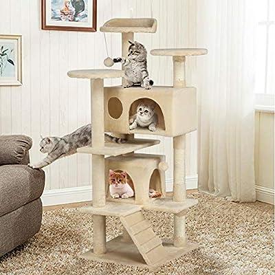Popamazing Cat Scratching Post Tower Tree pet palace cat palace (Beige)