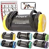 POWRX Sandbag de 5 a 30 kg Mejorar Equilibrio, Fuerza y coordinación - Power Bag con Cuatro agarres + PDF Workout (5 kg/Amarillo)