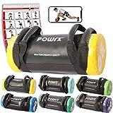 POWRX Power Bag I 5-30 kg I Kunstleder Fitness Bag für Functional Fitness (5 kg Schwarz/Gelb)