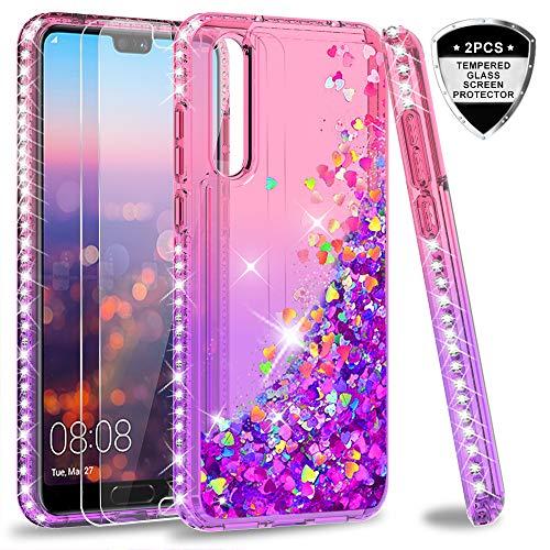 LeYi Hülle Huawei P20 Pro Glitzer Handyhülle mit Panzerglas Schutzfolie(2 Stück), Diamond Cover Bumper Schutzhülle für Case Huawei P20 Pro/Huawei P20 Plus Handy Hüllen ZX Gradient Pink Purple - Pink Cover Schutzfolie