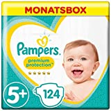 Pampers Premium Protection Windeln, Gr.5+ Junior Plus, 12-17kg, Monatsbox, 1er Pack (1 x 124 Stück)