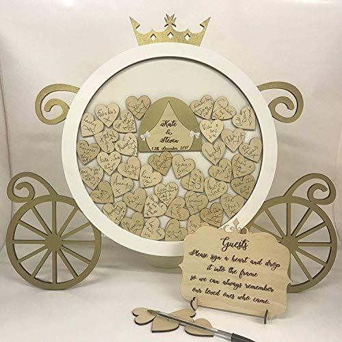 FSSS Ltd Disney Prinzessin Cinderella Kürbiskutsche 150 Herzen weiß & Gold Hochzeit Drop Box Gästebuch Geburtstag Gästebuch Holz