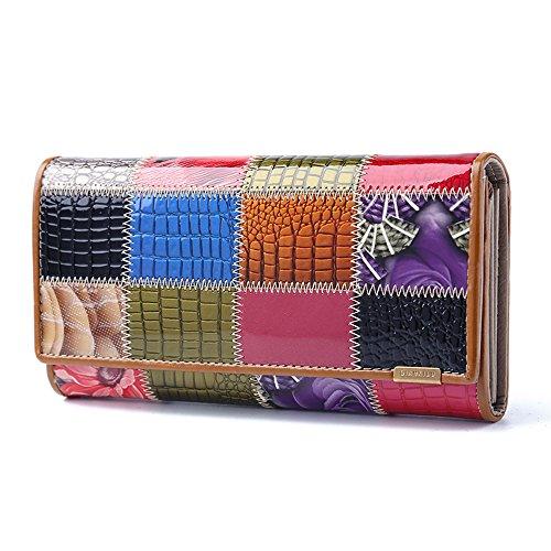 Gendi Ladies Designer di lusso di qualità borsa in pelle Nappa Multi carta di credito Carta raccoglitore frizione donna (colore casuale) colore casuale