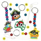 """Schlüsselanhänger- und Taschenschmuck-Bastelsets """"Piraten"""" zum Basteln von Schmuck für Kinder zum Kindergeburtstag (4 Stück)"""