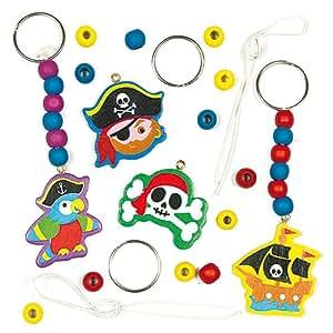 Lot de 4 Kits Porte-Clés et Pampilles Pirate à assembler