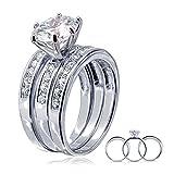 Argent 925 Bague, Femme Alliance Argent Ronde Zopius Diamant 3 Pièces Taille 51.5 Epinki