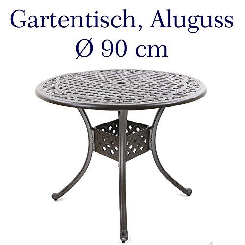 Hanseatisches Im- & Export Contor GmbH Table de Jardin, Fonte d'aluminium, Rond, Ø 90 cm, Hauteur 72 cm