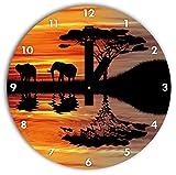 Afrika Elefant in Sonnenschein schwarz/weiß , Wanduhr Durchmesser 30cm mit schwarzen eckigen Zeigern und Ziffernblatt, Dekoartikel, Designuhr, Aluverbund sehr schön für Wohnzimmer, Kinderzimmer, Arbeitszimmer