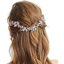Sweetv oro rosa fascia nuziale vite fiore Halo – fatto a mano accessori per  capelli per 1fcb1c7f225c