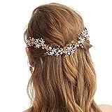 SWEETV - Diadema de boda de oro rosa para novia, diseño de flor de vino, accesorio para el pelo hecho a mano para mujeres y niñas