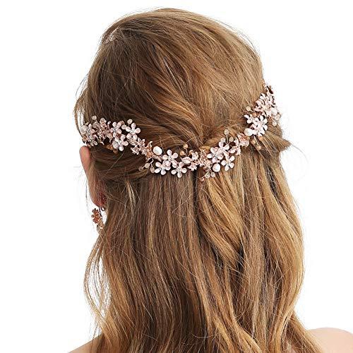 SWEETV Roségold Stirnband Brautschmuck Hochzeits Haarschmuck Kopfbedeckung Perlen Weinrebe ()