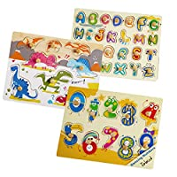 Robotime Wooden Peg Puzzles - Classic Teaching Toys for 1, 2, 3 Year Old, Toldders, Boys and Girls - Educational and Learning Gifts for Kids