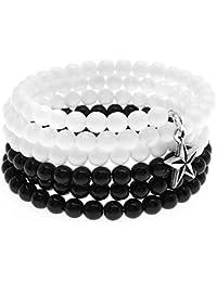 Bracelet Souvenir Fil de Fer Breloque Etoile (Noir/Blanc) - Ensemble Joaillerie Beadaholique Exclusif
