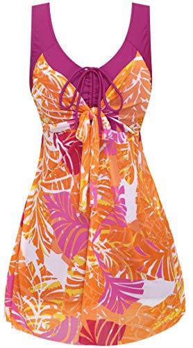 Wantdo Damen Plus Size Figurformender Einteilige Schwimmkleid Retro Raffung Einteiler Bademode Muster vertuschen Badeanzüge 42-44 Rot