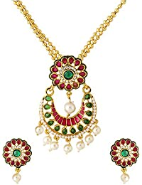 Peora Traditional Gold Plated Jewellery Colourful Pearl Pendant Earring Set For Women Bead Necklace