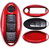 Auto Schlüssel Cover Hülle Nissan Qashqai Juke Micra Pulsar X-Trail Evalia Navra/Farbe: Metallic Rot
