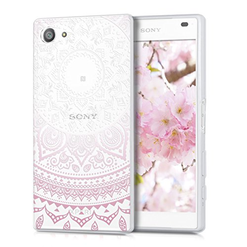 kwmobile Sony Xperia Z5 Compact Hülle - Handyhülle für Sony Xperia Z5 Compact - Handy Case in Rosa Weiß Transparent