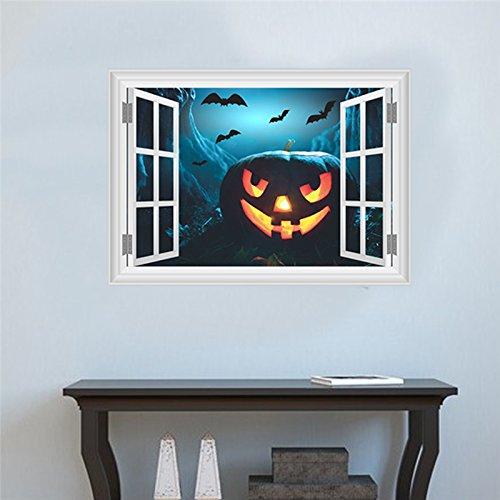 Baby Fledermaus Mobile (All 3D-Effekt Umpkin Laterne Fledermäuse Fake Fenster Wand Aufkleber Für Kinder Zimmer Home Decor Halloween Wand Aufkleber Diy Wandmalerei Kunst Pvc Poster)