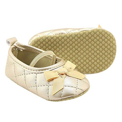MiyaSudy Baby Schuhe Neugeborenen Mädchen Weiche Sohle Bogen PU-Leder Mokassins Erste Wanderer 0-18 Monate Gold