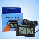 Tiptiper Mètre de température de thermomètre d'aquarium d'affichage à cristaux liquides Digital avec le noir imperméable de sonde