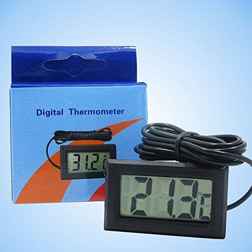 Hanbaili Termómetro del acuario, Termógrafo electrónico del detector de agua electrónico con el LCD grande para el tanque de los pescados/del reptil/del tortuga del acuario de Hydroponics