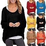MRULIC Damen Langärmlige Baggy-Shirts für Frauen Fledermausärmel Pullover Shirts Tops Blusen Jumper(Schwarz,EU-44/CN-XL