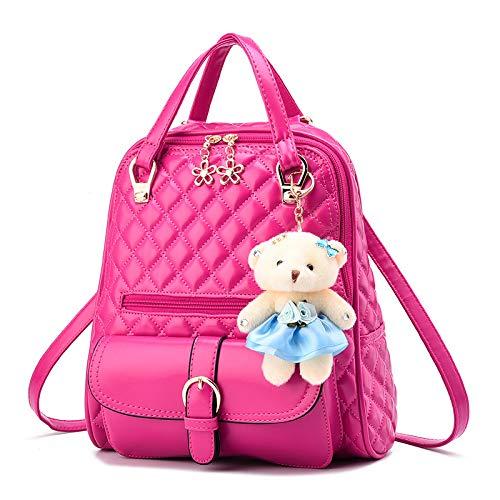 JIAQING Damen Leder Rucksack Damenmode Daypacks Reiseschultasche Rucksack,Pink-onesize