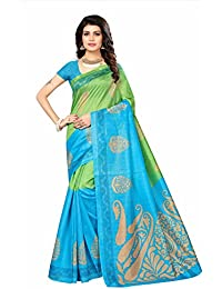 Fabwomen Sarees Floral Print Green And Blue Coloured Cotton Silk Traditional Casual Wear Women's Saree/Sari.