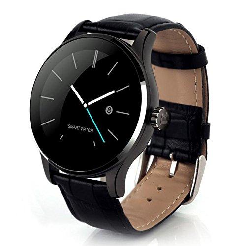 COLORFUL K88H Bluetooth Smart Watch Herzfrequenz Track Armbanduhr , Bluetooth 4.0 Smart Watch Handy-Uhr für iPhone iOS 7.0 oder Android 4.3 oben Smartphone, 1.22 Zoll IPS (Schwarz) -