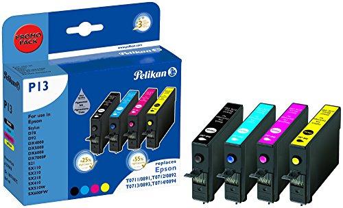 Pelikan 359698 - Cartucho de tinta Epson Stylus D78 - T0715 - Pack T0711, T0712, T0713, T0714 (Negro, Cyan, Magenta y Amarillo.)