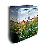 wandmotiv24 Briefkasten mit Zeitungsrolle Blumenwiese BK493, Edelstahl Design Briefbox, Mailbox, Designbriefkasten, Postbox