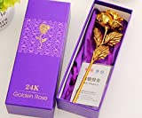 #7: ShopAIS 24K Gold Rose with Gift Box and Carry Bag - Best Gift On Valentine's Day, Rose Day. Gold Dipped Rose with Gift Box