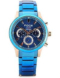 FOCE Analogue Blue and Gold Dial Men's Calendar Chronograph Watch - [FS09TRM-BLUE]