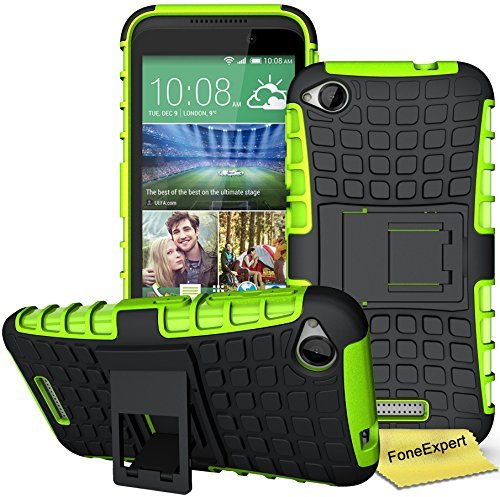 HTC Desire 320 Handy Tasche, FoneExpert® Hülle Abdeckung Cover schutzhülle Tough Strong Rugged Shock Proof Heavy Duty Case für HTC Desire 320 + Displayschutzfolie (Grün)