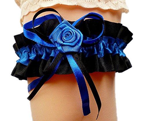 Strumpfband Schwarz Hochzeit (Satin-Strumpfband Braut schwarz royalblau blau mit Schleifen Rose Hochzeit NEU EU (bis 80 cm))