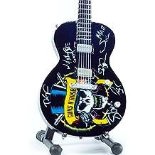 Guitarra en miniatura Guns N 'Roses–Homenaje–autografiado, Logo Custom–réplica de madera 25cms